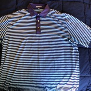 Peter Millar Striped Summer Comfort Polo Large